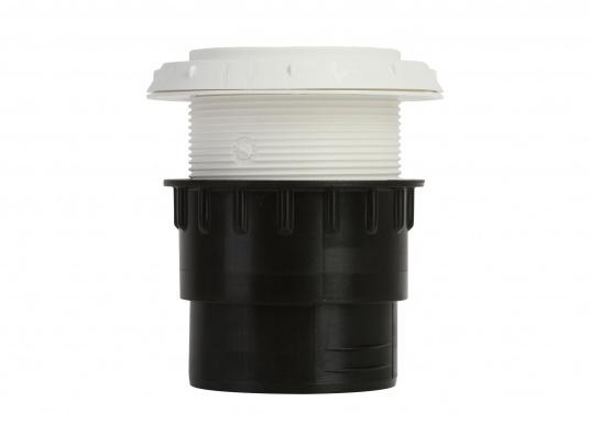 Ausströmer mit Überwurfmutter für Warmluftrohre in geöffneter Ausführung. Der Außendurchmesser beträgt 60 mm. Erhältlich in den Farben: schwarz, weiß und grau. (Bild 4 von 6)