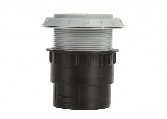 Ausströmer mit Überwurfmutter für Warmluftrohre in geöffneter Ausführung. Der Außendurchmesser beträgt 60 mm. Erhältlich in den Farben: schwarz, weiß und grau. (Bild 6 von 6)