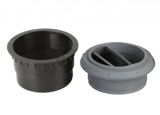 Ausströmer mit Überwurfmutter für Warmluftrohre. Der Ausströmer ist verschließbar. Der Außendurchmesser beträgt 90 mm. Erhältlich in den Farben: schwarz, weiß und grau. (Bild 5 von 6)