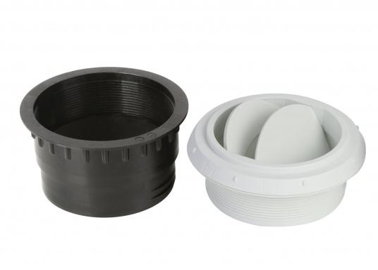 Ausströmer mit Überwurfmutter für Warmluftrohre. Der Ausströmer ist verschließbar. Der Außendurchmesser beträgt 90 mm. Erhältlich in den Farben: schwarz, weiß und grau. (Bild 3 von 6)