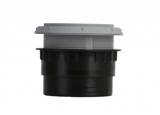 Ausströmer mit Überwurfmutter für Warmluftrohre. Der Ausströmer ist verschließbar. Der Außendurchmesser beträgt 90 mm. Erhältlich in den Farben: schwarz, weiß und grau. (Bild 6 von 6)