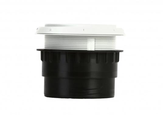 Ausströmer mit Überwurfmutter für Warmluftrohre. Der Ausströmer ist verschließbar. Der Außendurchmesser beträgt 90 mm. Erhältlich in den Farben: schwarz, weiß und grau. (Bild 4 von 6)