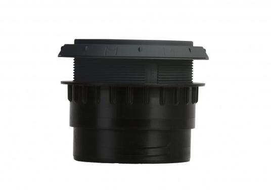 Ausströmer mit Überwurfmutter für Warmluftrohre. Der Ausströmer ist verschließbar. Der Außendurchmesser beträgt 90 mm. Erhältlich in den Farben: schwarz, weiß und grau. (Bild 2 von 6)