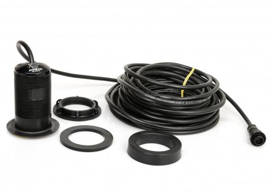 Kompakter Kunststoff-Durchbruchgeber mit 50/200 kHz. Liefert Daten zu Tiefe und Temperatur. Leistung: 600 W. (Bild 2 von 4)