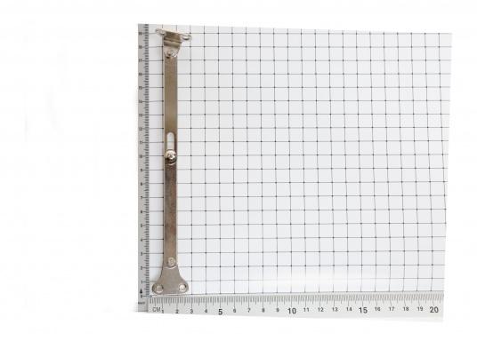 Originaler Gelenk-Klappenhalter für Ihre Yacht von BAVARIA. Der Klappenhalter besteht auf vernickeltem Stahl und hat in gestreckter Form eine Länge von 150 mm. (Bild 3 von 3)