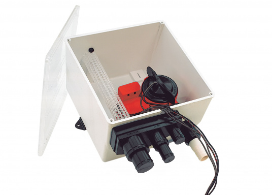 Dieses funktionelle Lenzsystem von BAVARIA ist ideal geeignet zum Auffangen von Dusch- und sonstigem Abwasser. DerBehälter besteht aus weißem Thermoplast, der Deckel aus klarem Acryl.