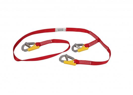 Robust 3-point lifeline with overload indicator and three self-locking carabiners (according to ISO12401 / EN1095) for adults and children with 25 kg body weight and up. Suitable for all rescue vests with harnesses. Total length with carabiners: approx. 2 m. (Image 2 of 4)