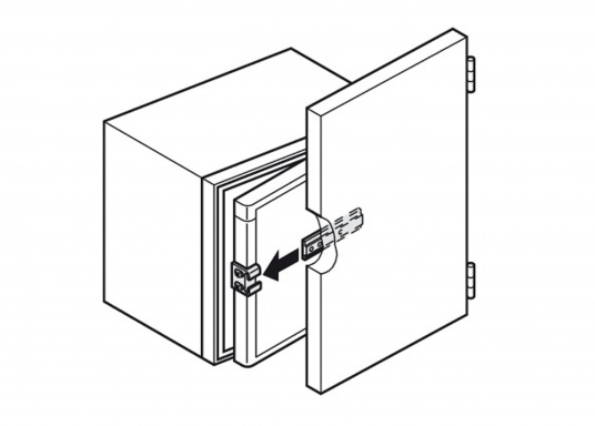 Original Schleppscharnier für Ihre BAVARIA Yacht, hergestellt aus Kunststoff. Farbe: schwarz / weiß. Zum Einbau von Kühlschränken hinter Möbeltüren, sodass beim Öffnen der Möbeltür die Kühlschranktür automatisch mit geöffnet wird. (Bild 6 von 6)