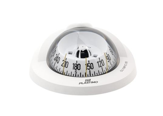 """Originaler BAVARIA Kompass """"Olympic 95"""" von Plastimo. Geeignet für Segelboote bis 9 m. Der Kompass besitzt ein sehr einfaches Design, das sich bestens in alle Steuerstände integrieren lässt. Inklusive Beleuchtung und Kompensation. Farbe: weiß."""