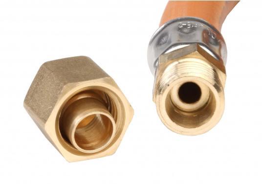 Zugelassene, geprüfte Gas-Druckschläuche mit Messingverschraubungen für den Marine-Bereich.Erhältlich in verschiedenen Ausführungen.  (Bild 3 von 3)
