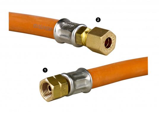 Zugelassene, geprüfte Gas-Druckschläuche mit Messingverschraubungen für den Marine-Bereich.Erhältlich in verschiedenen Ausführungen.  (Bild 2 von 3)