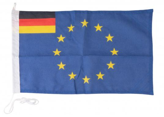 Flagge Europa / Deutschlandhergestellt aus widerstandsfähigem, gegen UV-Strahlen beständigen, bis 95° kochfesten Polyester. Größe: 30 x 45 cm.