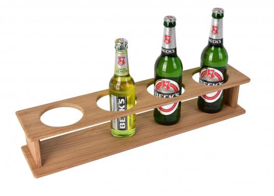 Flaschen- oder Glashalter aus hochwertigem Teak für 4 Flaschen / Gläser.