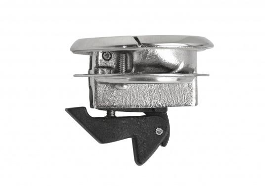 Runder Bodenheber gefertigt aus rostfreiem Edelstahl. Durchmesser 57 mm. Materialstärke: 19 - 25 mm.  (Bild 3 von 4)