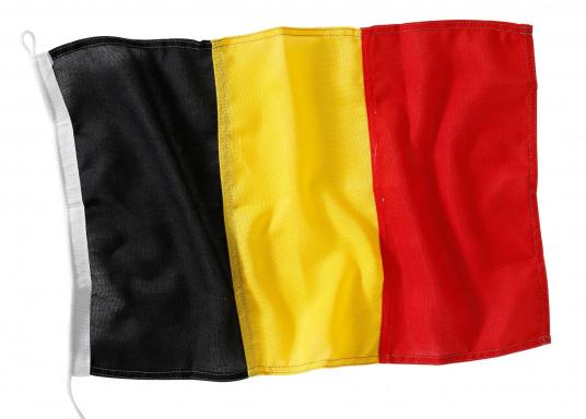 Robuste Nylon-Flaggen mit offiziellem Landesflaggen-Druck: Belgien. Hochwertige Verarbeitung mit 100%-Durchdruck, schnelle und einfache Befestigung.