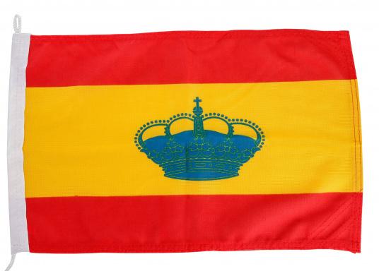 Robuste Nylon-Flaggen mit offiziellem Landesflaggen-Druck: Spanien. Hochwertige Verarbeitung mit 100%-Durchdruck, schnelle und einfache Befestigung.