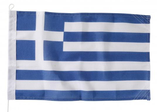Robuste Nylon-Flaggen mit offiziellem Landesflaggen-Druck: Griechenland. Hochwertige Verarbeitung mit 100%-Durchdruck, schnelle und einfache Befestigung.Ideal für die Verwendung als Länder- und Gastlandflagge.