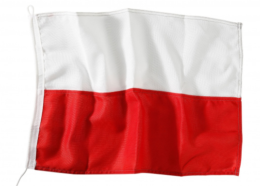 Durable nylon flags with official national flag print: Poland. High-quality fabric, 100% screen printed, quick and easy fixation.Ideal for use as country and courtesy flag.