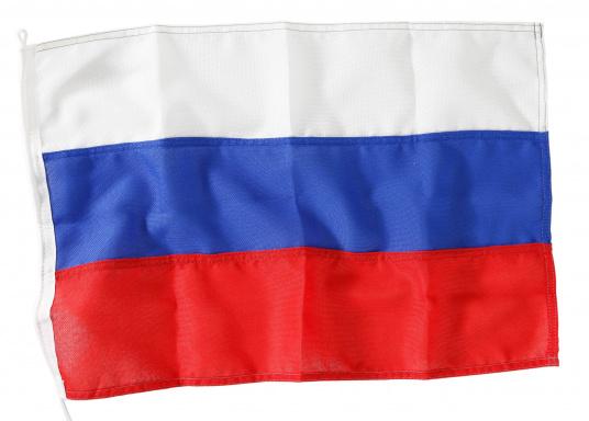 Robuste Nylon-Flaggen mit offiziellem Landesflaggen-Druck: Russland. Hochwertige Verarbeitung mit 100%-Durchdruck, schnelle und einfache Befestigung.Ideal für die Verwendung als Länder- und Gastlandflagge.