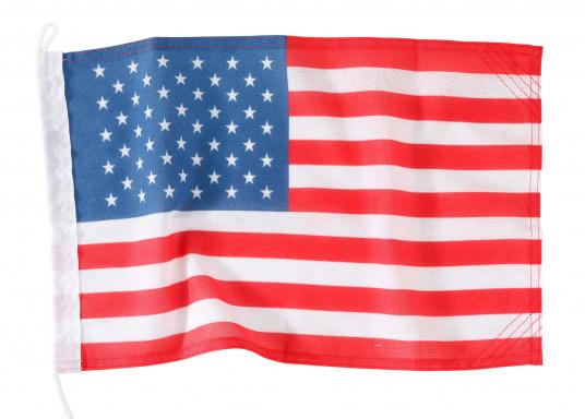Robuste Nylon-Flaggen mit offiziellem Landesflaggen-Druck: USA. Hochwertige Verarbeitung mit 100%-Durchdruck, schnelle und einfache Befestigung.Ideal für die Verwendung als Länder- und Gastlandflagge.