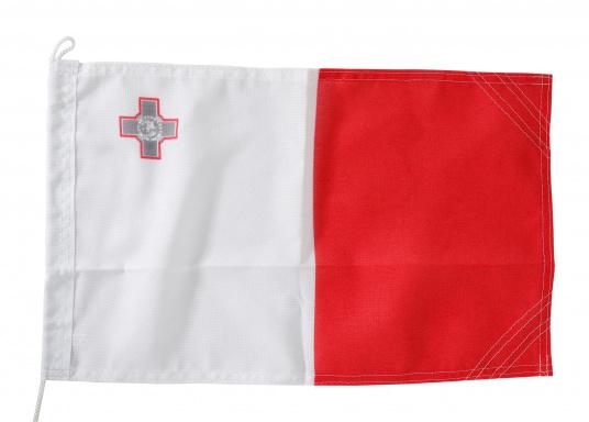 Robuste Nylon-Flaggen mit offiziellem Landesflaggen-Druck: Malta. Hochwertige Verarbeitung mit 100%-Durchdruck, schnelle und einfache Befestigung.Ideal für die Verwendung als Länder- und Gastlandflagge.