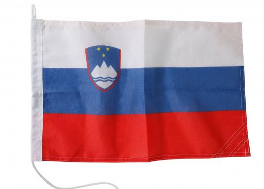 Robuste Nylon-Flaggen mit offiziellem Landesflaggen-Druck: Slowenien. Hochwertige Verarbeitung mit 100%-Durchdruck, schnelle und einfache Befestigung.Ideal für die Verwendung als Länder- und Gastlandflagge.