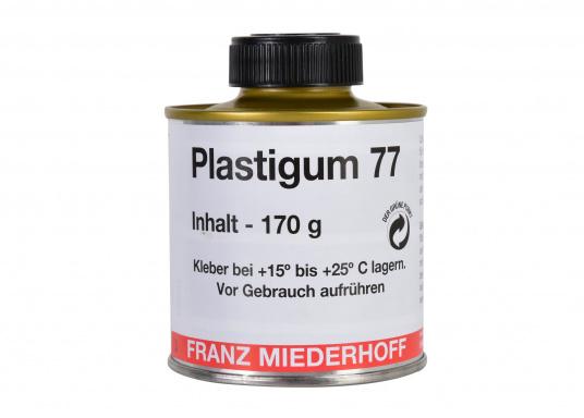 Der Spezialklebstoff PLASTIGUM 77 ist zur Verklebung von PVC-Kunstleder und Weich-PVC miteinander sowie mit Textilien, Metall und anderen Materialen geeignet. Inhalt: 170 g.