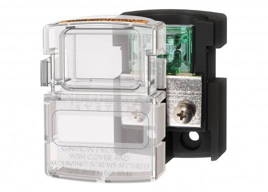 MAXI Sicherungsblock mit transparenter Kunststoff-Abdeckplatte, die als Schutz vor Berührung der leitenden Teile dient und den Sicherungsblock komplett abdichtet. Zündfunkengeschützt. Daher empfohlen für den Einsatz im Motorraum oder im direkten Umfeld der Batterien.