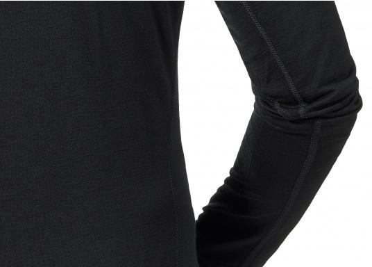 Merino trägt sich angenehm weich und kratzfrei auf der Haut. Sie ist extrem atmungsaktiv und transportiert die Körperfeuchtigkeit nach außen. Merino hält warm, sorgt für ausgeglichenes Körperklima und besitzt einen hohen Tragekomfort. Auch wenn man das Merino-Langarmshirt mehrere Tage getragen hat, es riecht nicht. (Bild 4 von 4)