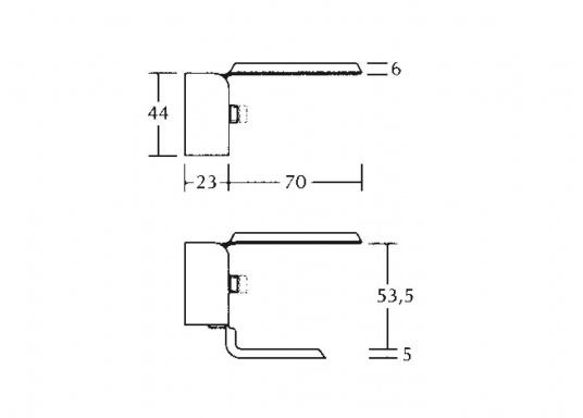 Bootshaken-Halter mit Bodenplatte aus rostfreiem Edelstahl. Geeignet für die Montage an Wantendrähten.  (Bild 4 von 4)