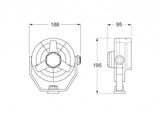 Kompakter, leistungsstarker Ventilatormit 150 mm Durchmesser und Schutzgitter. Der Propeller besteht aus Weichplastik, das Gehäuse ist aus schlagfestem Kunststoff gefertigt. Spannung: 12 V. Farbe: weiß.  (Bild 2 von 2)