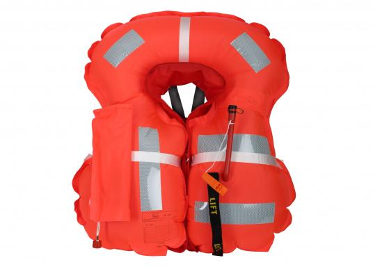 Robust life jacket, ideal as a starter model foryacht and cruise sailing, deep sea sailing (blue water) and on motor ships (blue water). With a buoyancy of 280 N, suitable for a body weight of50 kg and up.  (Image 5 of 5)