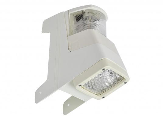 Dieser mit Topplaterne kombinierte Deckstrahler weist nur einen geringen Streuverlust auf und bietet einen präzisen Lichteinfall. Die seitlichen Kunststofflaschen ermöglichen eine einfache Montage an jedem Mastprofil.