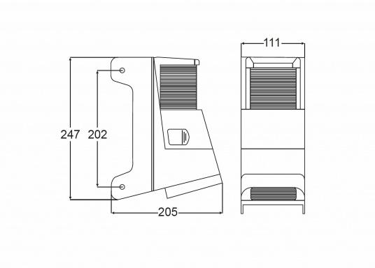 Dieser mit Topplaterne kombinierte Deckstrahler weist nur einen geringen Streuverlust auf und bietet einen präzisen Lichteinfall. Die seitlichen Kunststofflaschen ermöglichen eine einfache Montage an jedem Mastprofil.  (Bild 4 von 5)