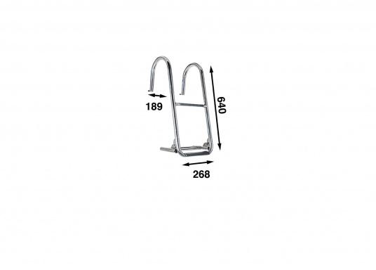Stabile Edelstahl-Bordwandleiter, die einfach an Deck in die zwei mitgelieferten, flachen Edelstahlplatten eingehakt werden kann. Ermöglicht einen einfachen Aufstieg an Bord. Die Bordwand wird optimal durch die Kunststoffpuffer geschützt. (Bild 2 von 3)