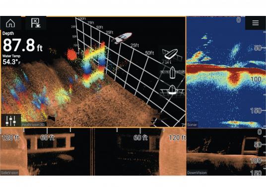 Spezial für Skipper entwickelt, die alles in einem Display haben wollen. Ausgestattet mit einem ultra-schnellen Quad-Core-Prozessor, einem superhellen IPS-Display und der intelligenten LightHouse Bedienoberfläche - für ein reibungsloses und intuitives Navigationserlebnis. Der AXIOM PRO-S Display ist ausgestattet mit demReal Vision™ 3D-Sonar und 1kW CHIRP-Sonar. (Bild 6 von 10)
