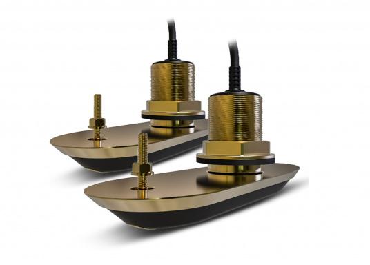 Bronze-Durchbruchgeber Set RV-220 für den direkten Anschluss an ihr AXIOM Multifunktionsdisplay von Raymarine. Lebensnahe Klarheit und optimal erkennbare Strukturen mit RealVision 3D Sonar.