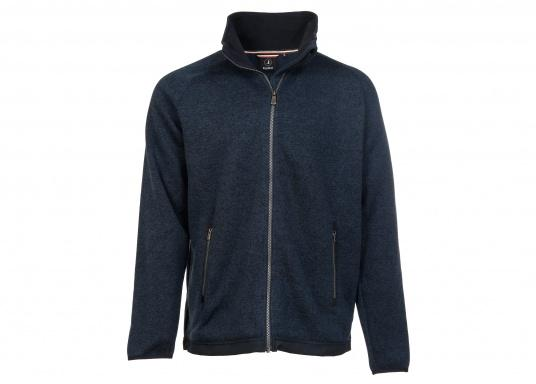 Comfortable fleece jacket for men. The fleece has a full-length zipper and two side pockets, which also have zippers.