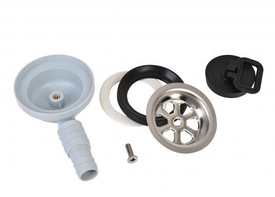 """Stabiler, aus Kunststoff bestehender und gewinkelter Abfluss für 3/4"""" und 1""""Spülwasseranschlüsse. Der Abfluss enthält ein Edelstahlsieb. Lieferung inklusive Stöpsel. (Bild 3 von 3)"""