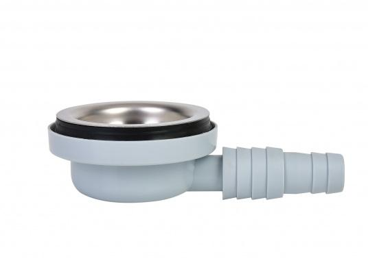 """Stabiler, aus Kunststoff bestehender und gewinkelter Abfluss für 3/4"""" und 1""""Spülwasseranschlüsse. Der Abfluss enthält ein Edelstahlsieb. Lieferung inklusive Stöpsel. (Bild 2 von 3)"""