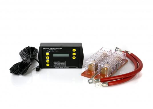 Hier finden Sie passend zu Ihrem Lichtmaschinen-zu-Batterie-Lader eine Fernbedienung mit der alle wichtigen Parameter des Ladegeräts angezeigt werden. Inklusive zwei Shunts.