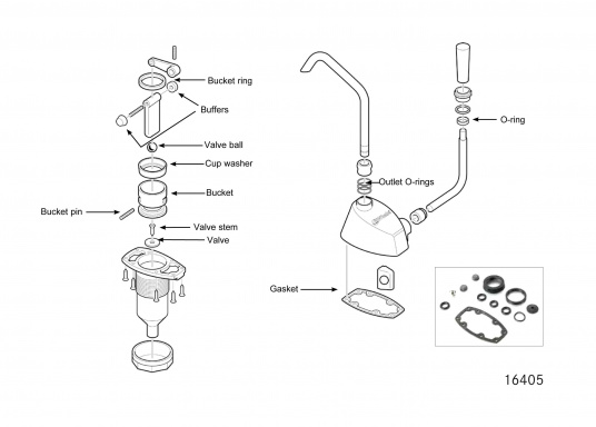 Dieses Ersatzteil-Set ist für die Waschbeckenpumpevon Whale geeignet.  (Bild 3 von 3)