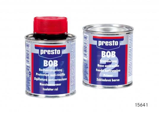 Das PRESTO BOB Kombi-Pack: Rostschutz beinhaltet Rostversiegelung und Grundierung. Der Inhalt beträgt jeweils 100 ml.
