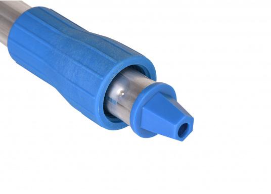 Hochwertiger und robuster Schrubberstiel mit Wasserdurchlass. Die integrierte Steck- und Schraubverbindung ermöglicht Ihnen ein schnelles Wechseln der Bürstenköpfe. Länge: 150 cm. (Bild 3 von 4)