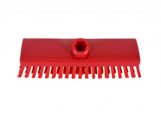 Passende, harte Schrubberbürste ohne Wasserdurchlass für die Schrubberstiele mit einer Steck- und Schraubverbindung. Farbe: rot.
