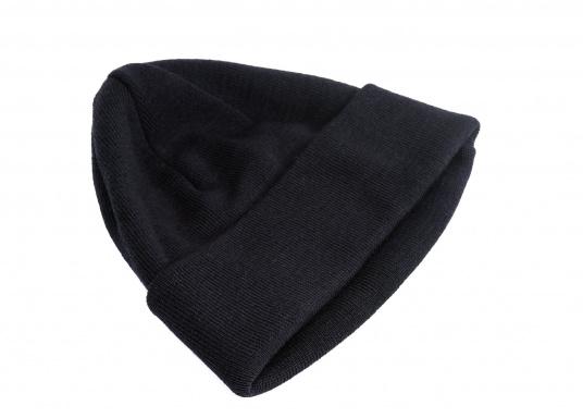 Feinstrickmütze aus 100 % Wolle (Merinowolle) mit variabler, elastischer Passform. Die Merino-Wolle kratzt nicht und hält Sie auf See oder während kalten Temperaturen garantiert warm.