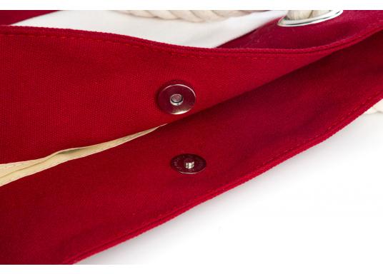 Strandtasche in maritimen Design. Geräumiges Hauptfach mit Druckknopfverschluss und kleinen Innenfächern für Portemonnaie und Handy. (Bild 3 von 5)