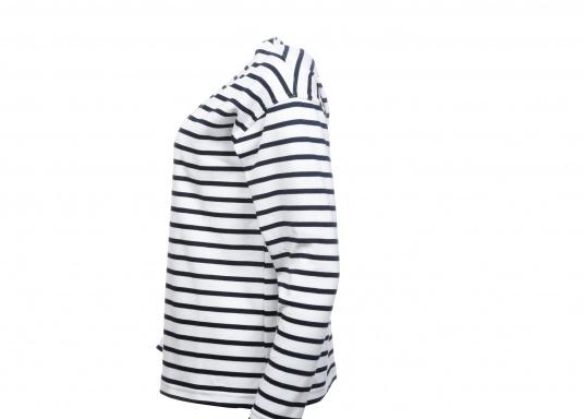 Gestreiftes Bretonisches Damen-Shirt mit Langarm und U-Boot Halsausschnitt. Mit seitlich geschlitztem Bund. Durch die elastisch gewirkte Baumwolle ist das Shirt sehr angenehm auf der Haut zu tragen. (Bild 2 von 7)