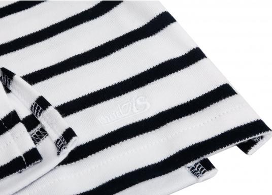 Gestreiftes Bretonisches Damen-Shirt mit Langarm und U-Boot Halsausschnitt. Mit seitlich geschlitztem Bund. Durch die elastisch gewirkte Baumwolle ist das Shirt sehr angenehm auf der Haut zu tragen. (Bild 6 von 7)
