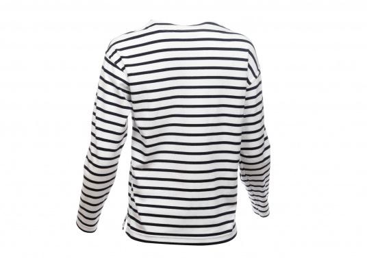 Gestreiftes Bretonisches Damen-Shirt mit Langarm und U-Boot Halsausschnitt. Mit seitlich geschlitztem Bund. Durch die elastisch gewirkte Baumwolle ist das Shirt sehr angenehm auf der Haut zu tragen. (Bild 3 von 7)